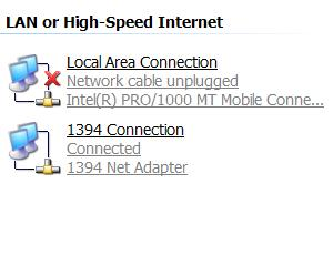 1394 firewire network connection