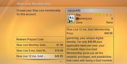 xbox live membership options